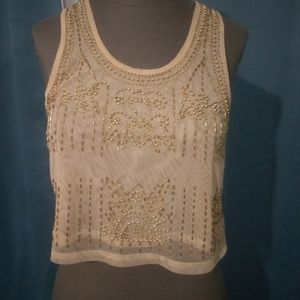 Cream and Gold  tank crop top